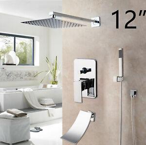 """Bathroom Chrome Shower Faucet Set Wall Mount Mixer Rainfall 12/"""" Shower Head Tap"""
