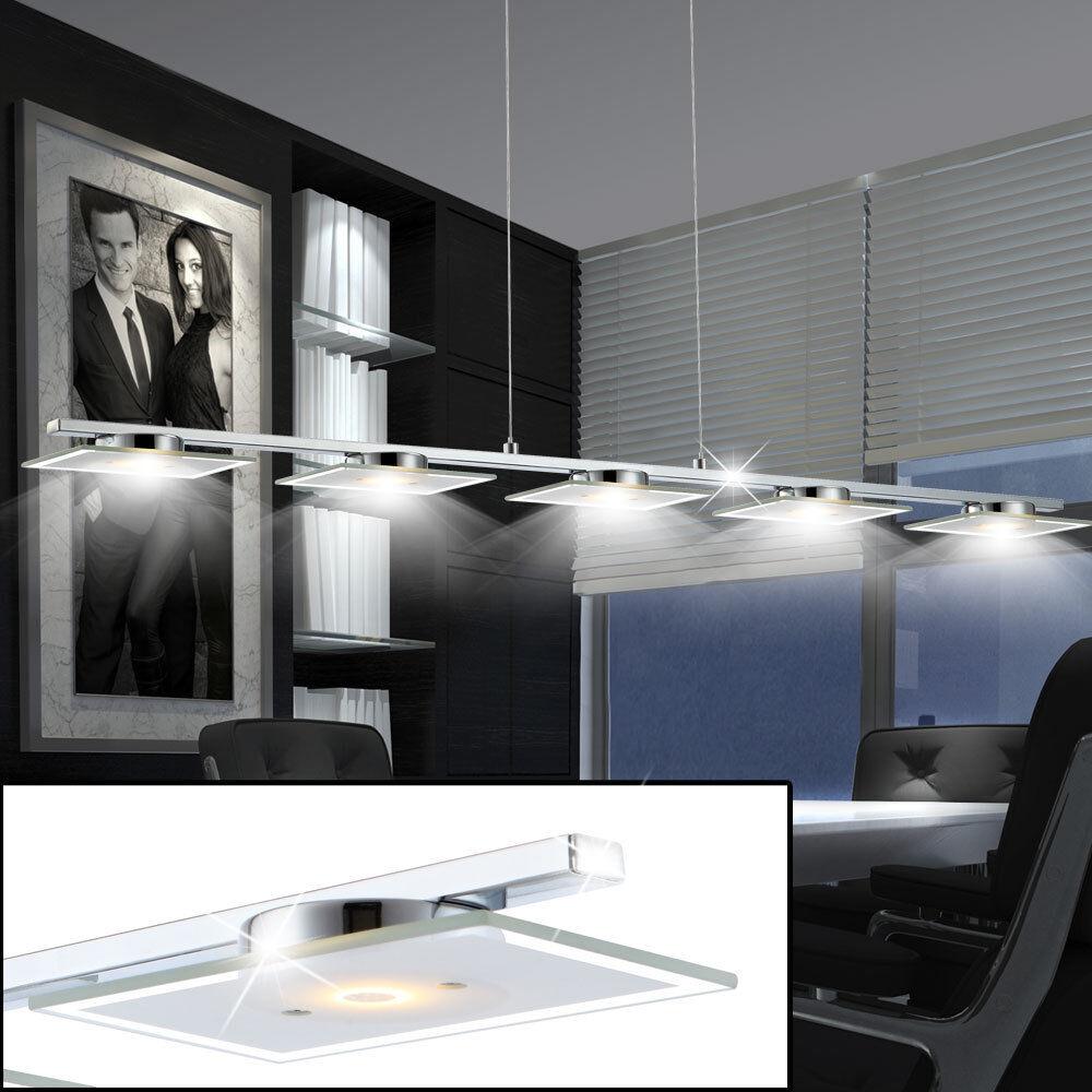 LED Deckenlampe Chrom Hänge Decken-Leuchte Küchen Ess-Zimmer Ess-Zimmer Ess-Zimmer Pendel Beleuchtung a72132