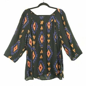 Lucky-Brand-Womens-Plus-Size-3X-black-Diamond-Printed-Top-Blouse-semi-sheer