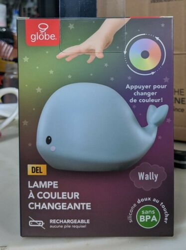 Wally Whale Multi-Color Changing LED TikTok Night Light Lamp Tap White