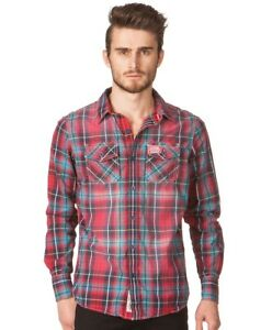 Superdry-Mens-Check-Shirt-Long-Sleeve-Red-Check-M-amp-L-Massive-Savings