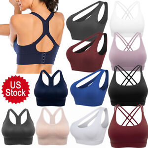 New Womens Seamless Sports Bras High Impact Running Crop Tops Padded Yoga Bra US