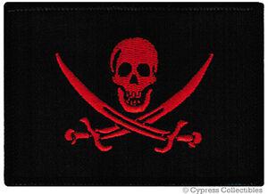 BLACKBEARD PIRATE FLAG iron-on PATCH JOLLY ROGER Skull Swords EMBROIDERED SKULL