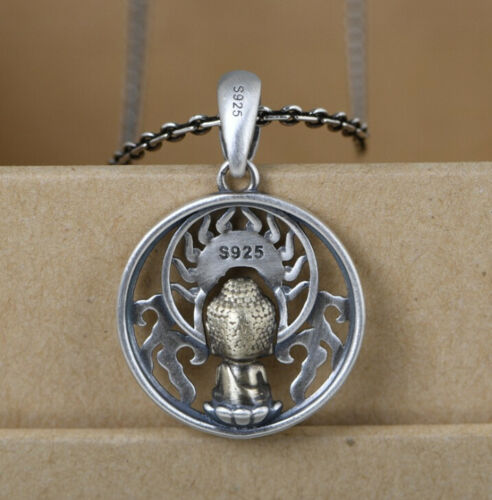I05 Anhänger buddhistisch Sterling Silber 925 goldener Buddha betend