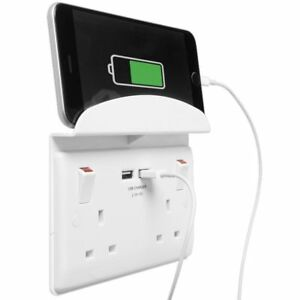 BG-Electrical-922us-Double-Plug-Socket-2-Gang-Brushed-Steel-with-2-usb-and-shelf