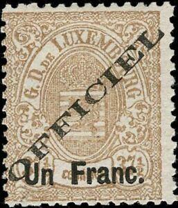 Lussemburgo LUXEMBOURG 1875 STEMMA 1f/37, 5c. officiel GOMMA mi:17ia MH * esaminato