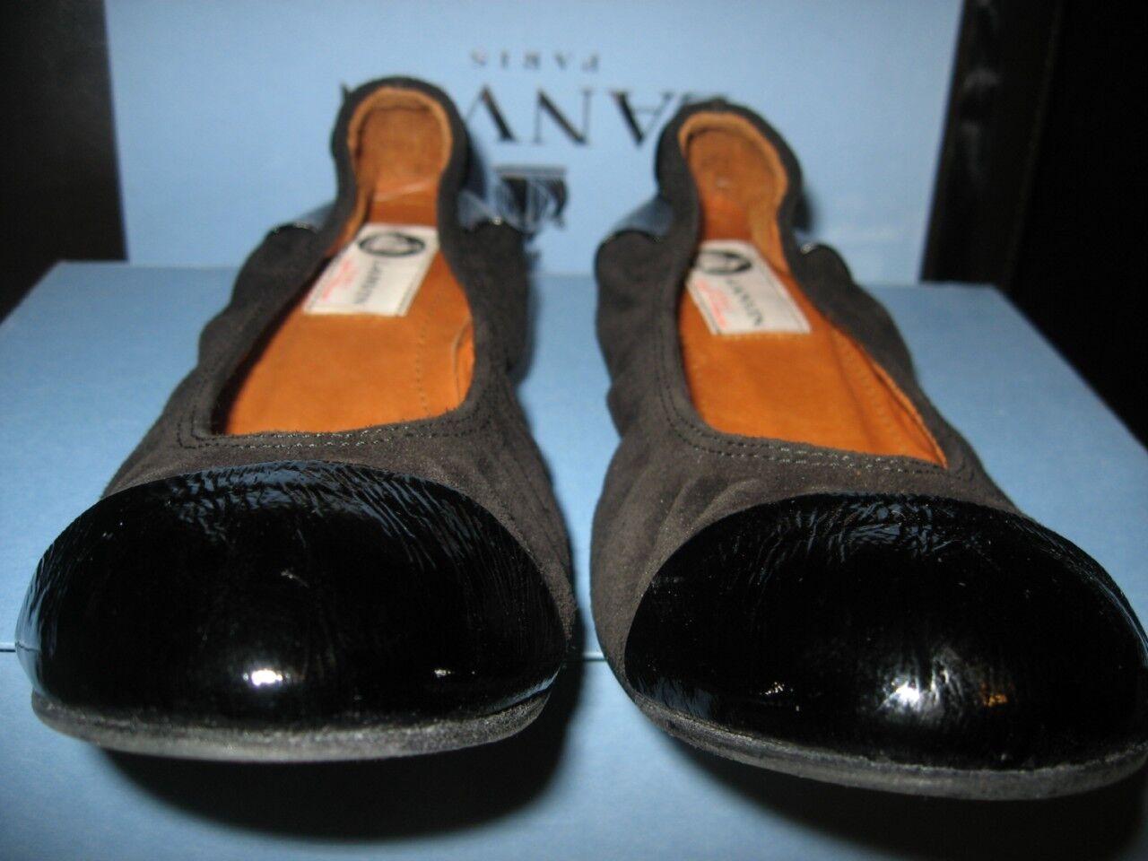 LANVIN Patent Leather Cap Toe Toe Cap Suede Patent Ballerina Flats Shoes Black Size 36.5 56b794