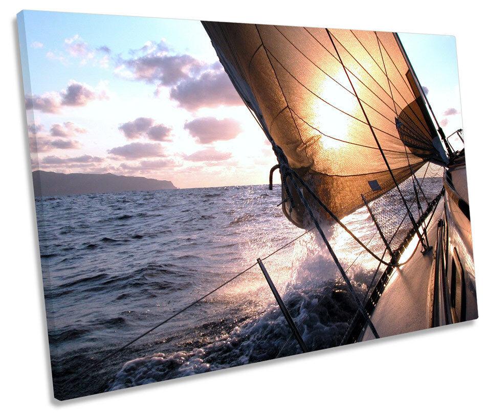 Sail Yacht Boat Seascape SINGLE CANVAS WALL ART Framed Print