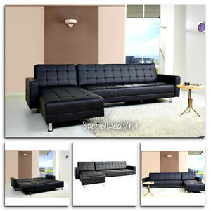 Leather Sectional Sofa Bed Sleeper Modern Couch Furniture Living Room Chaise PU