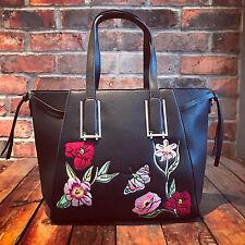 Womens Black Moda Medium Tote Handbag Faux Leather & Free River Island Gift