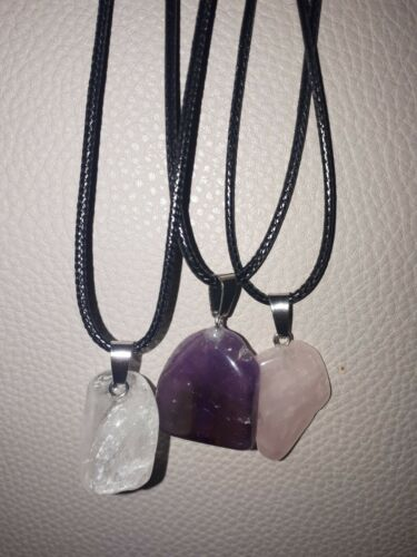 NATURAL AMETHYST HEALING Crystal Pendant Cord Necklace Reiki Blessed