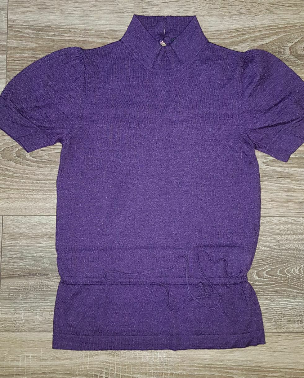 ETRO Women's Cashmere Silk Sweater Short Sleeve Purple Size 40