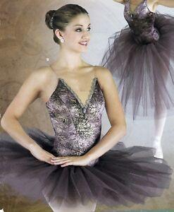 short-graduated-tutu-BALLET-DANCE-COSTUME-gilded-violet-w-brooch-Gold-braid