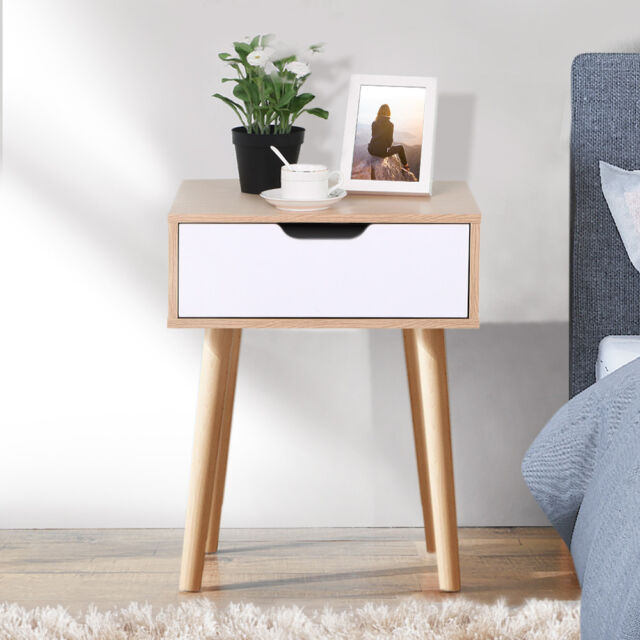 Retro Sofa Side End Table/Bedside Cabinet Table Nighstand Small Desk with Drawer