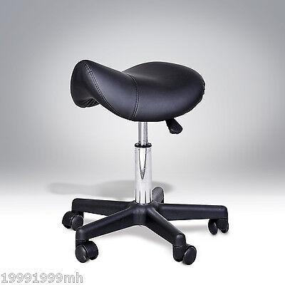 HOMCOM Salon Chair Saddle Stool Rolling Swivel Massage Spa Beauty Stool Leather