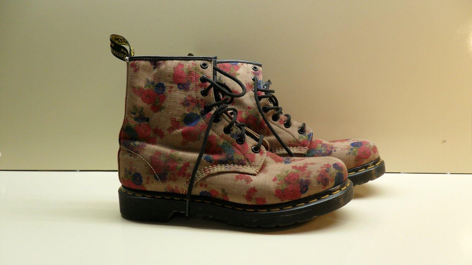 Dr Martens CASTEL 8 Eyelet Multicolor Floral Canvas Ankle Boots Sz US 10 EU 42