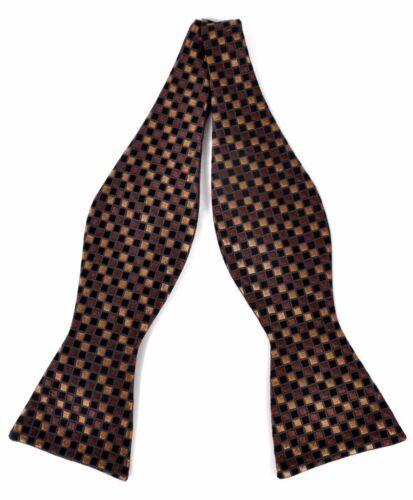 Retro Tiled Silk Woven Freestyle Bow Tie FBS3609-Brown