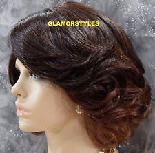 "17"" Short Wavy Auburn Brown Mix Full Lace Front Wig Heat Ok Hair Piece #OM23033"