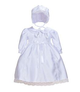 Nouveau-Bebe-Satin-Blanc-Manches-Longues-Bapteme-Robe-Bonnet-0-3-6-9-12-Mois