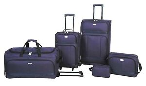 NEW-5-PIECE-LUGGAGE-SET-TRAVEL-SUITECASE-DUFFEL-BAG-OVERNIGHT-HOLLIDAY-AIRPLANE