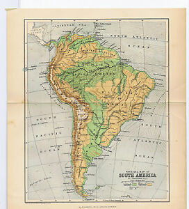 1890 south america color antique geographicalphysical map special image is loading 1890 south america color antique geographical physical map gumiabroncs Gallery