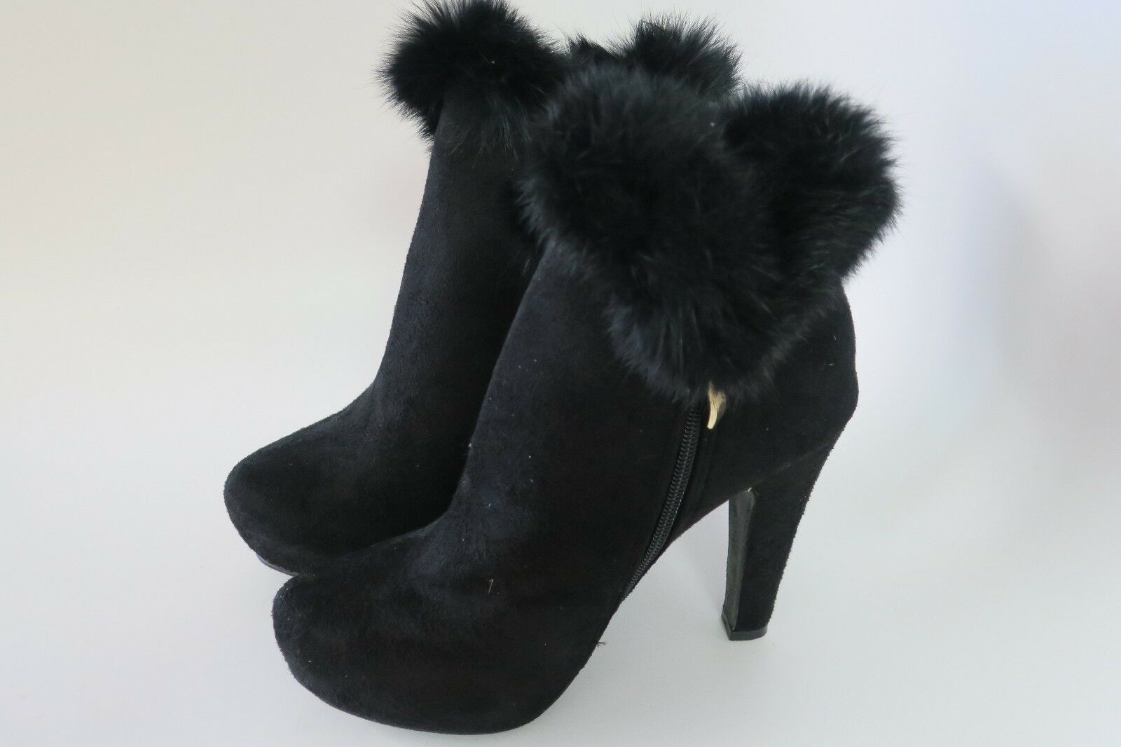 DbDk Women's Furry-6 Faux Suede Black Ankle High Heel Boot