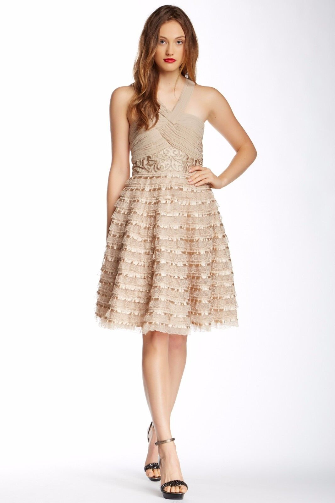 Sue Wong Mixed Media A - Line Fit Flare Beige Size 2