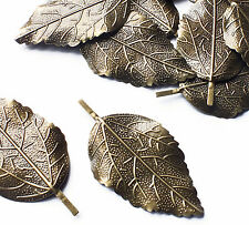 10 x Bronze tone Leaf Stamping, Wrap, Embellishment, Stick on Charm Decoration