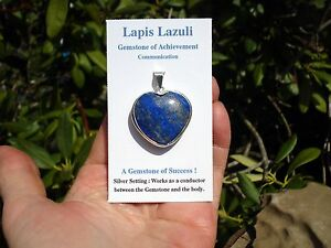 NATURAL-Lapis-Lazuli-Healing-Heart-Silver-Pendant-Achievement-amp-Communication
