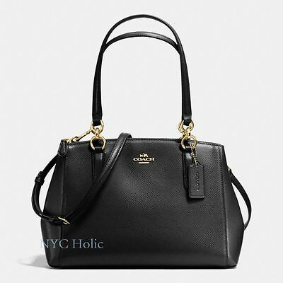 New Coach Small Christie Carryall F36637 In Crossgrain Leather Black Saddle Navy