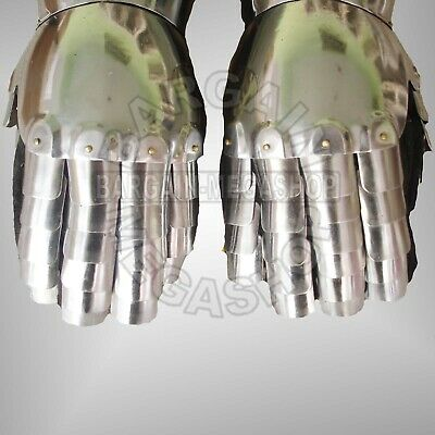 Medieval Gauntlets Pair Set of 2 Gloves Knight Re-enactment Metal Plate Armor