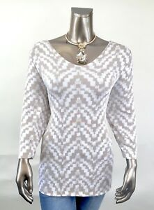 CHICO-039-S-NEW-SIZE-2-L-BEIGE-GOLD-GEOMETRIC-V-NECK-3-4-SLEEVES-TUNIC-TOP
