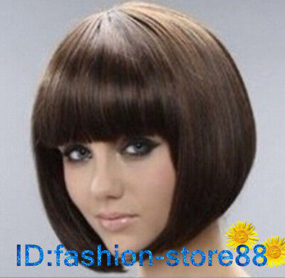 Fashion New sexy Women's ladies short Mix brown Natural Hair wigs + wig cap