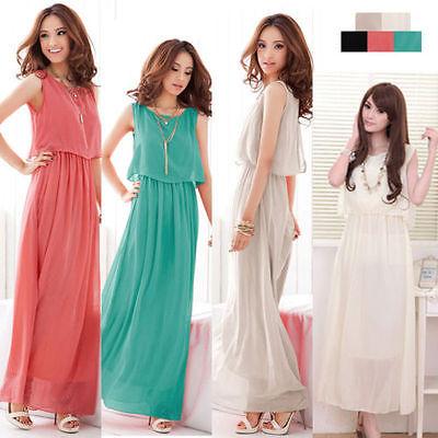 Summer New Boho Womens Chiffon Beach Maxi Long Dress Sleeveless Pleated Sundress