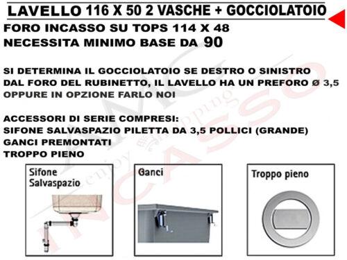Gocciolatoio Terra Di Francia Lavello LSL50012 FT11620 02 TF 116 X 50 2 Vasche