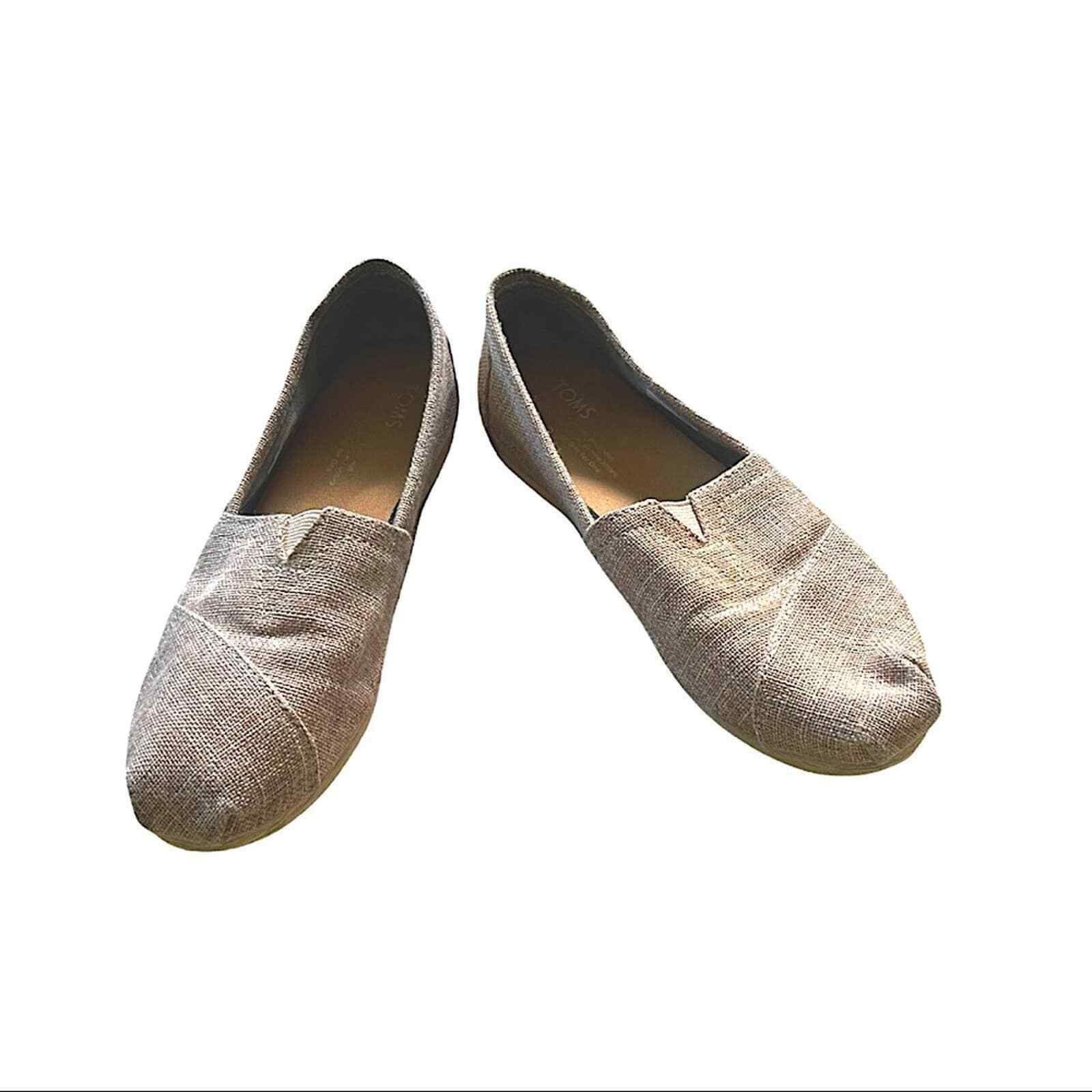 TOMS Slip-on Shoes Women's Size 7 Light Brown w/ Gold Thread