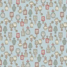 coupon de tissu patchwork shabby Petites Bouteilles de Pafum Bleu 45x55cm