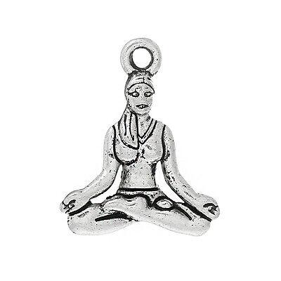 20 pc Charm Pendants Favorite Pose Yoga Antique Silver 20mmx16mm LC3989