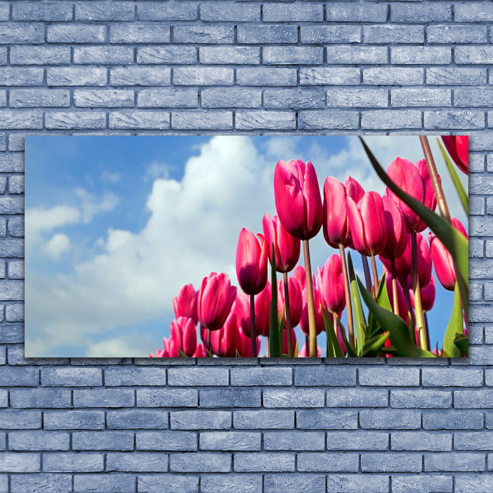 Glass print Wall art 140x70 Image Picture Tulip Floral