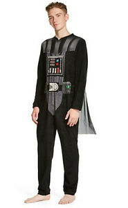 Adult-Mens-M-Darth-Vader-Fleece-Pajamas-One-Piece-Union-Suit-Star-Wars-Costume