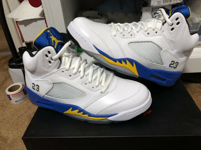 best cheap cec2f 2d3d8 New Air Jordan 5 Retro Laney White Maize Royal Black Size 9.5 (136027-189