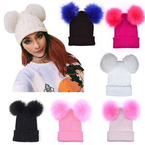 1a2022406 Details about Fashion Women Winter Warm Hats Crochet Knitted Hairball  Beanie Cap Hat Ski Cap