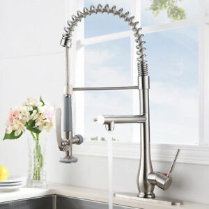 Details about FLG Commercial Style Single Handle Kitchen Sink Faucet Pull  Down Sprayer