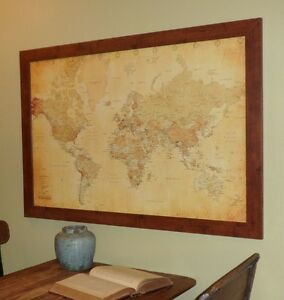 Vintage style world push pin travel map with pins and frame ebay image is loading vintage style world push pin travel map with gumiabroncs Images