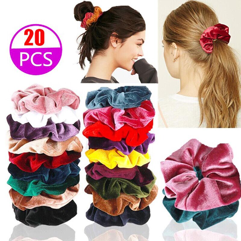 20 × Haargummi Samt Haarband Zopfband Zopfgummi Velour Scrunchie Dick