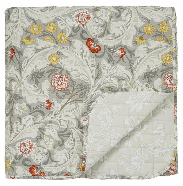 William Morris Designer Bedding Leicester Grey Floral 100 Cotton Bedding Range