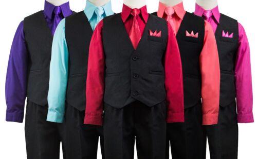 Size 2T-14 Wedding Boys Solid Black Vest Suit Set with Colored Dress Shirt Tie