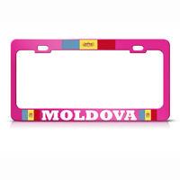 Moldavian Flag Moldova Metal Hot Pink License Plate Frame Auto Suv Tag Holder