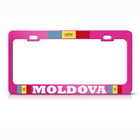Moldavian Flag Moldova Metal Hot Pink License Plate Frame Auto Suv Tag Holder