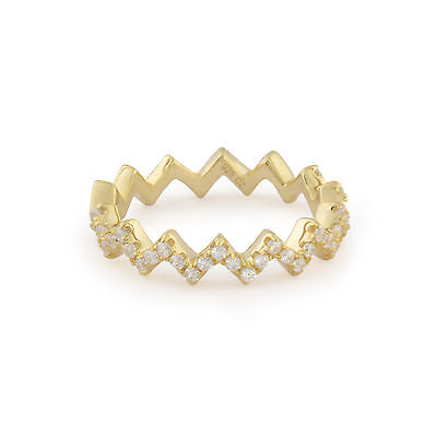 Sterling silver 925 gold plate cz cubic zirconia crystal pave crown ring